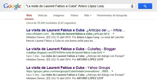 Infolatam aparece como el primero de los resultados de Google para el artículo de López Levy.