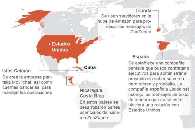 Mapa tomado de AP sobre desarrollo y despliegue de ZunZuneo.