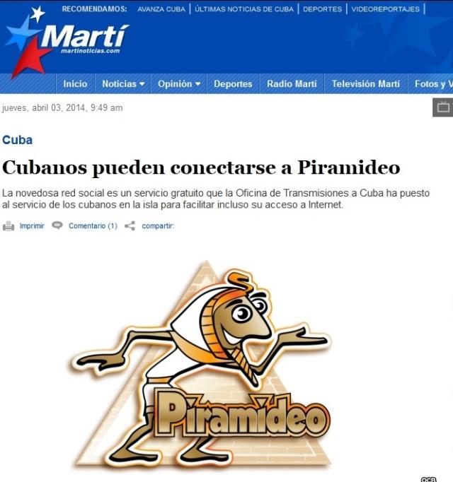 El sio web de Radio y TV Martí anuncia Piramideo un año después de desactivarse ZunZuneo