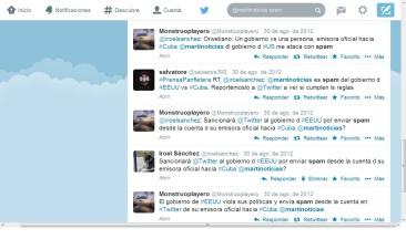 Denuncia de ataque spam desde la cuenta en Twitter de