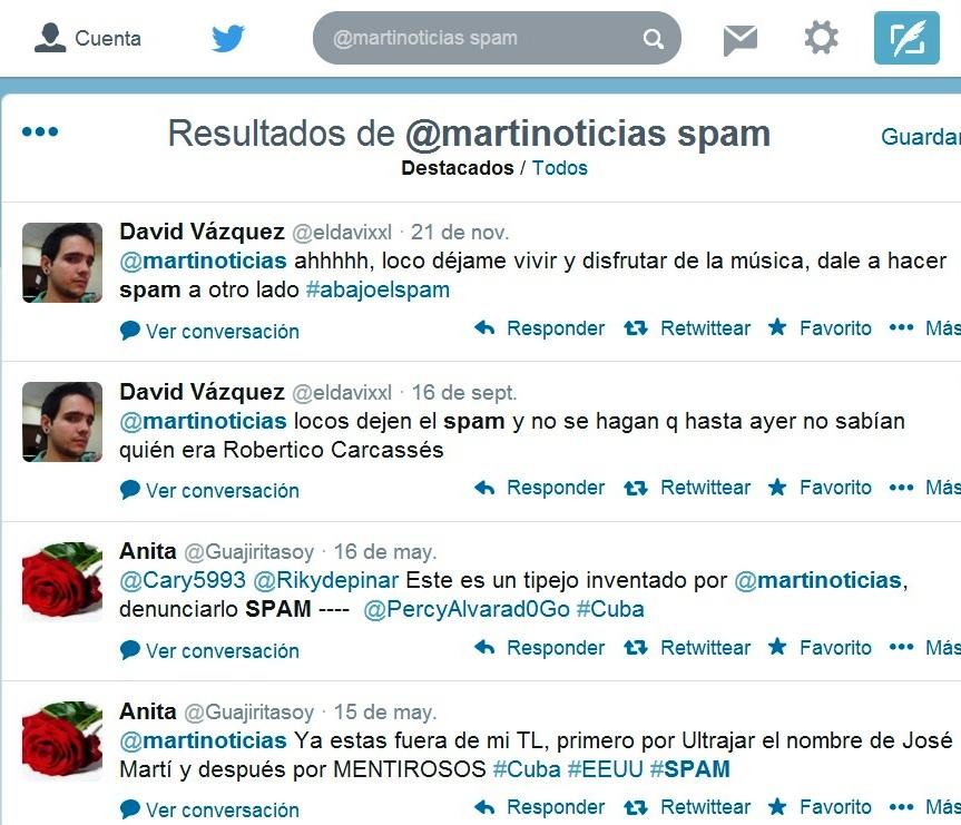 Denuncia de ataque spam desde la cuenta en Twitter de Marti Noticias