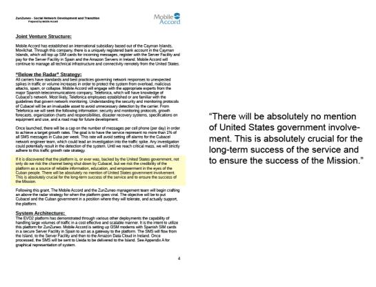 """Documento revelado por AP que involucra al gobierno de Esatdos Unidos: """"""""No se mencionará en lo absoluto la participación del gobierno de Estados Unidos…Es totalmente crucial para el éxito a largo plazo del servicio y garantizar el cumplimiento de la Misión"""""""