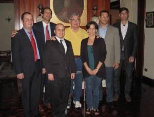 Oscar Arias junto a contrarrevolucionarios cubanos