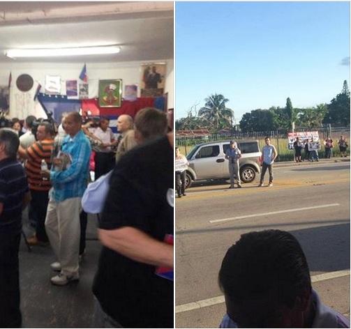 La galería repleta para ver las acuarelas de Tony Guerrero y la calle desierta con escuálida protyesta. Fotos vía Twitter de Edmundo García.