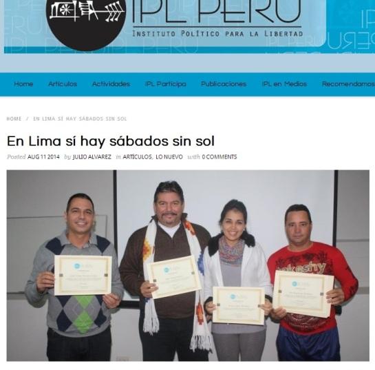 """Artículo sobre curso a """"periodistas independientes"""" cubanos vinculados a sitios pagados por EE.UU. publicada el 11 de agosto de 2014 en la web del IPL."""
