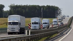 Caravana de ayuda humanitaria rusa enviada a Ucrania.