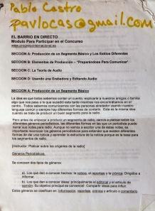 """Bases de """"El Barrio en directo"""" con el email de Pabñlo Castro."""