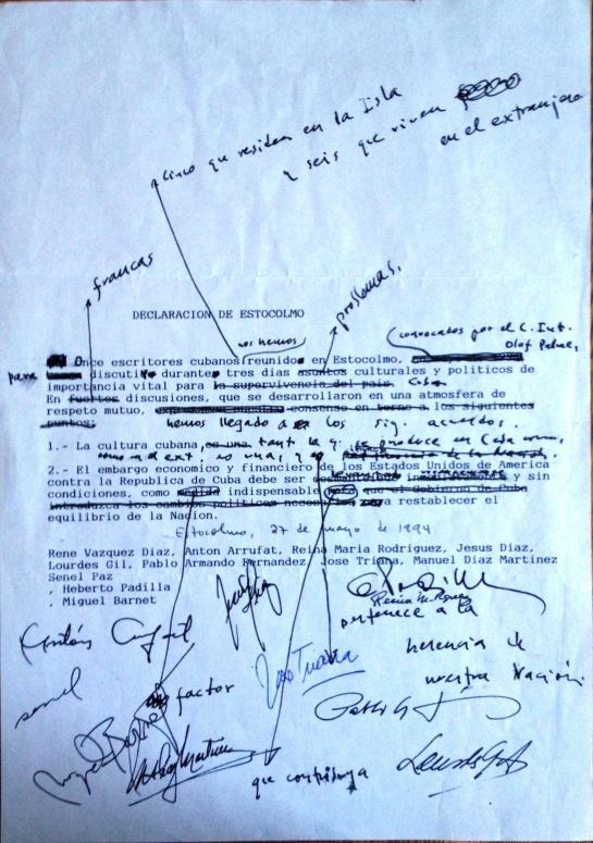 Borrador de la Declaración de Estocolmo no se ha publicado nunca.