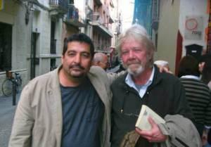 Con Carlos Bishop en Barcelona en 2013.  Tuvo la deferencia de trasladarse varias decenas de kilómetros para estar presente en uno de los encuentros que hicimos cuando visitamos esa ciudad en compañía de la madre del héroe cubanoAntonio Guerrero, Mirtha Rodríguez.