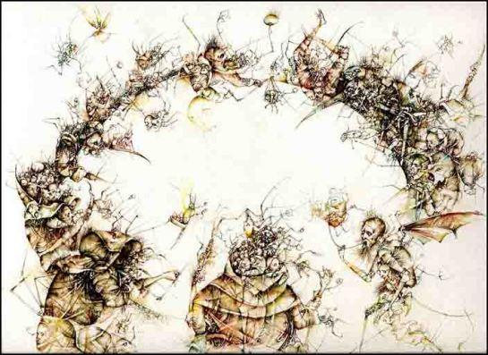 Fariñas, Banquete iniciático, acuarela, 1999