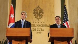 John Kerry y Bruno Rodríguez en conferencia de prensa en La Habana