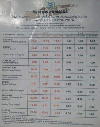 Precios de entrada a lugares naturales del Escambray