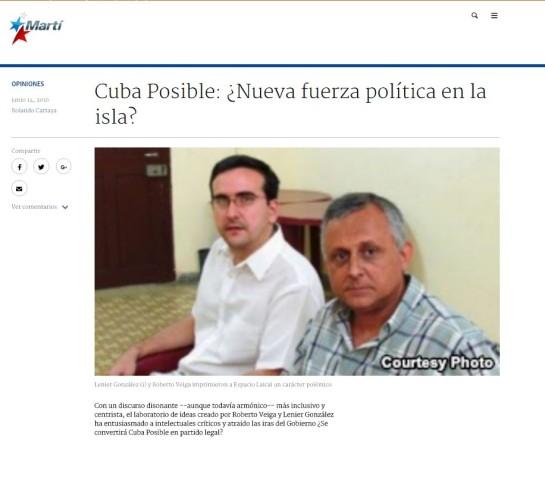 """Promoción de """"Cuba Posible en la web de la emisora del gobierno estadounidense hacia Cuba Radio y TV Martí."""