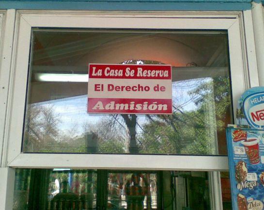 La casa se reserva el derecho de admisi--n