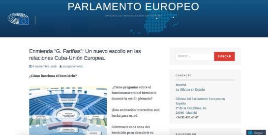 Imaghen del falso sitio del Parlamento Europeo. Tomado de Amerika 21