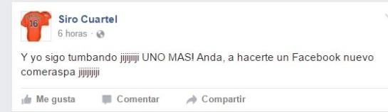 Uno de los más recientes post de Lamelo Piñón (siro Cuartel) en Facebook.