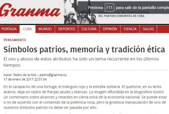 """Arículo en Granma el 18 de enero de 2016 firmado por Pedro de la Hoz: """"Se puede estar o no de acuerdo con el contenido de la polémica nota, pero la grotesca manipulación de uno de nuestros símbolos patrios no debe ser pasada por alto."""""""