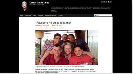 Post en el blog de Cartas desde Cuba ridiculizando a Javier Gómez Sánchez