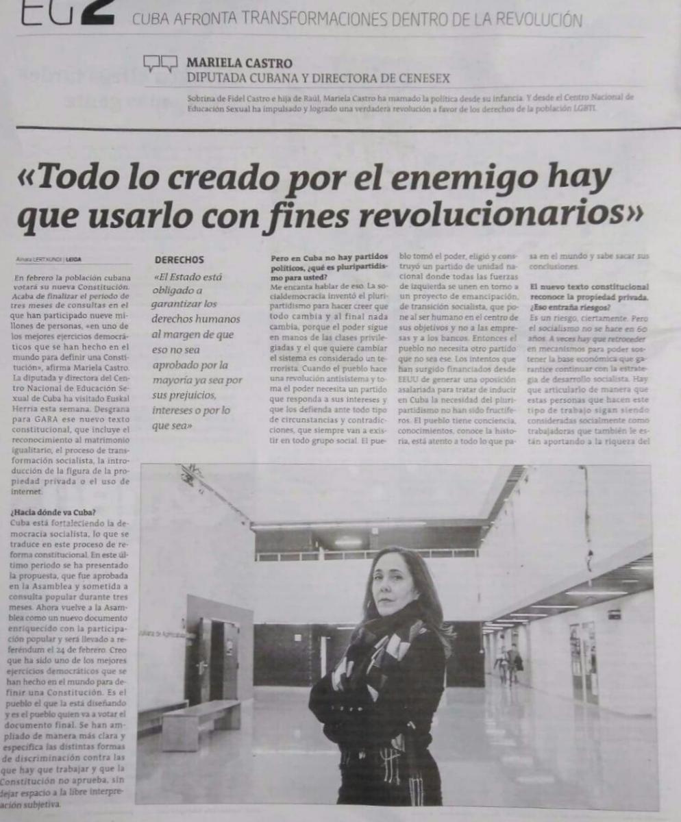 """Mariela Castro: """"Todo lo creado por el enemigo hay que usarlo con fines revolucionarios"""""""